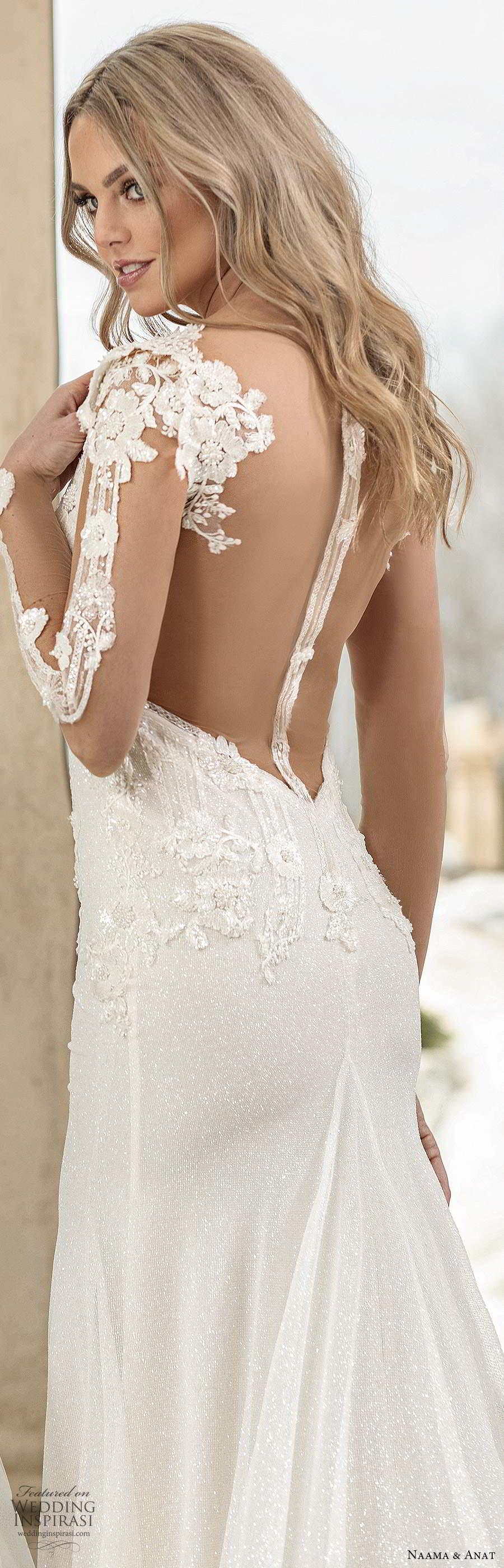 naama anat spring 2020 knottinghill bridal illusion long sleeves plunging v neckline heavily embellished bodice fit flare a line wedding dress sheer back chapel train (7) zbv