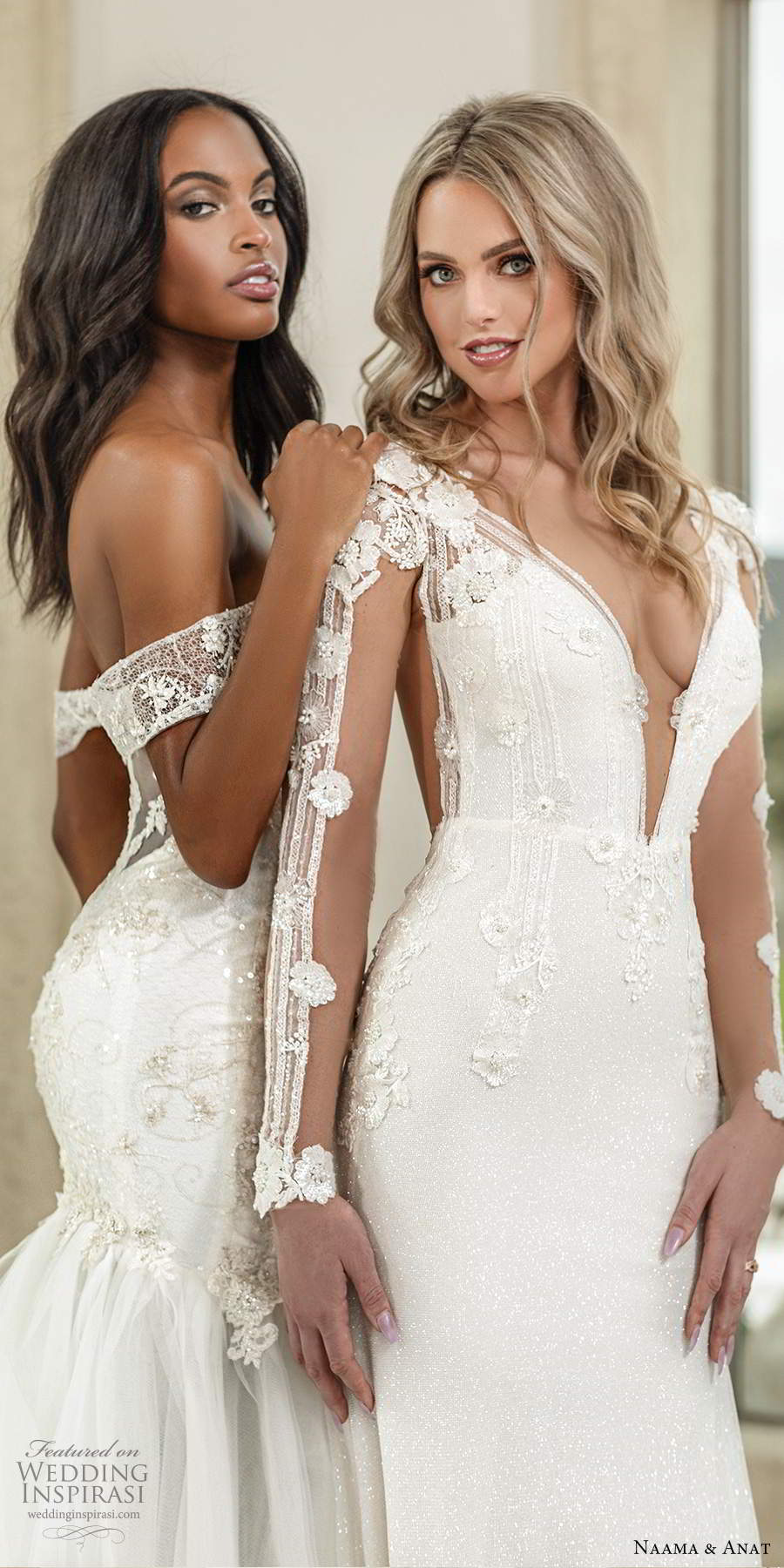 naama anat spring 2020 knottinghill bridal illusion long sleeves plunging v neckline heavily embellished bodice fit flare a line wedding dress sheer back chapel train (7) zfv