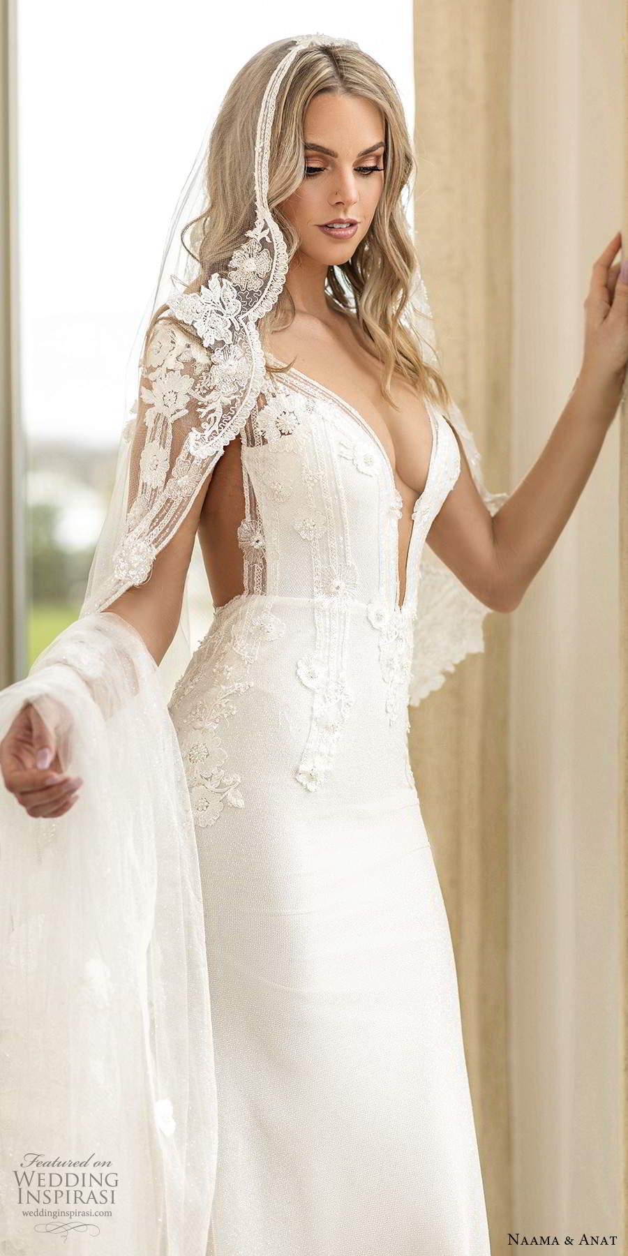 naama anat spring 2020 knottinghill bridal illusion long sleeves plunging v neckline heavily embellished bodice fit flare a line wedding dress sheer back chapel train (7) zv
