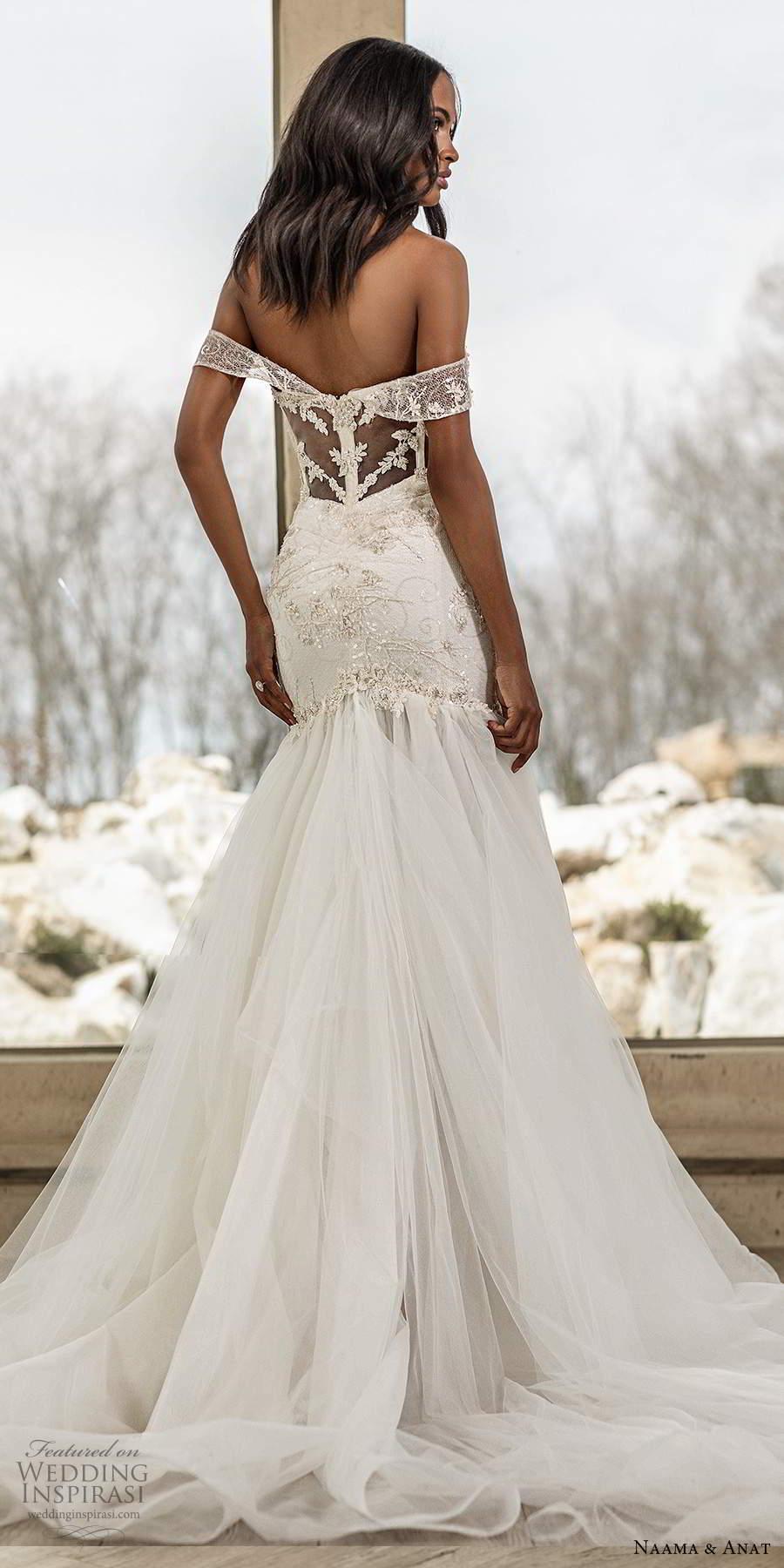 naama anat spring 2020 knottinghill bridal off shoulder sheer straps sweetheart neckline embellished bodice fit flare mermaid wedding dress sheer back chapel train (8) bv