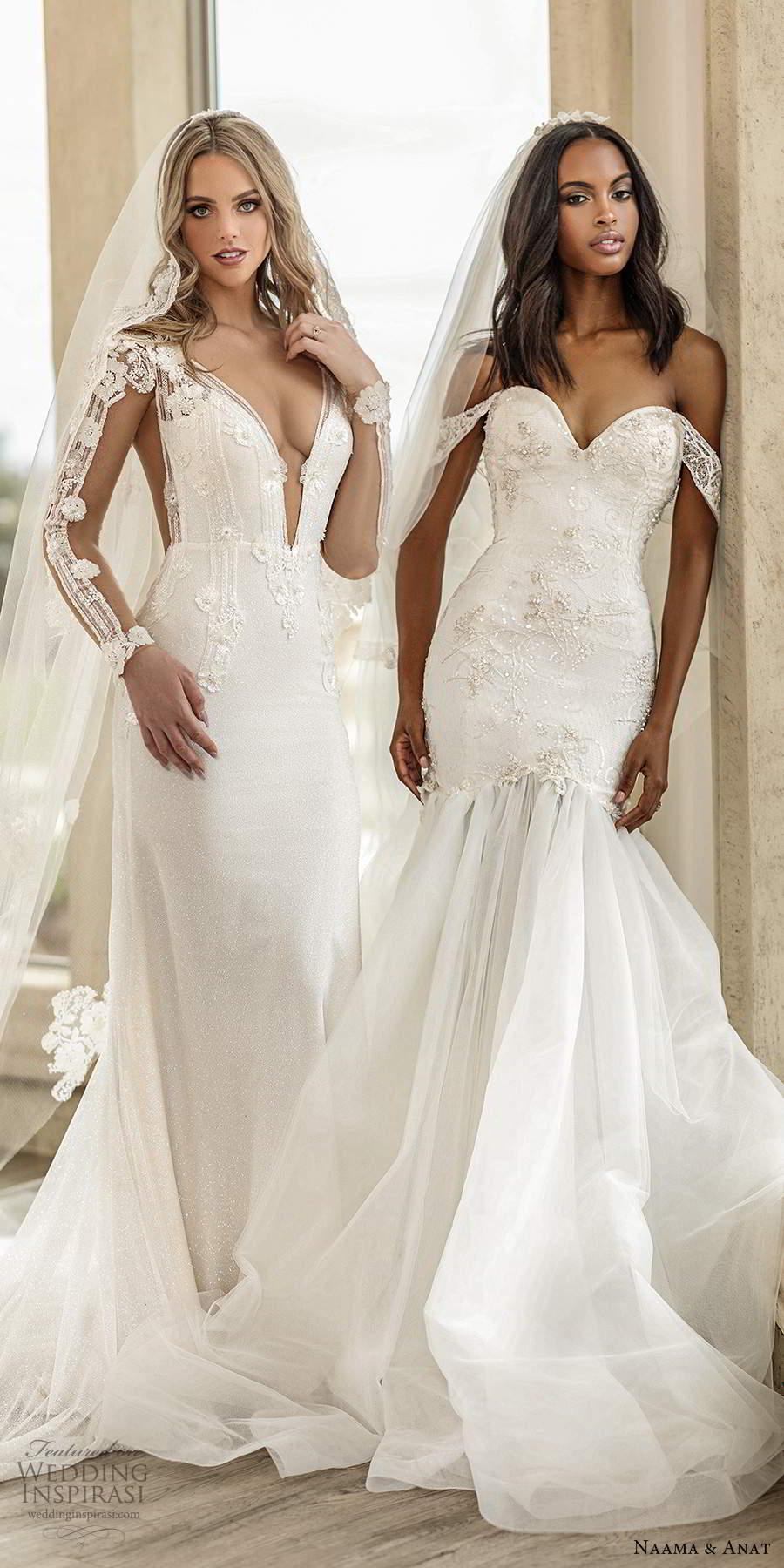 naama anat spring 2020 knottinghill bridal off shoulder sheer straps sweetheart neckline embellished bodice fit flare mermaid wedding dress sheer back chapel train (8) mv