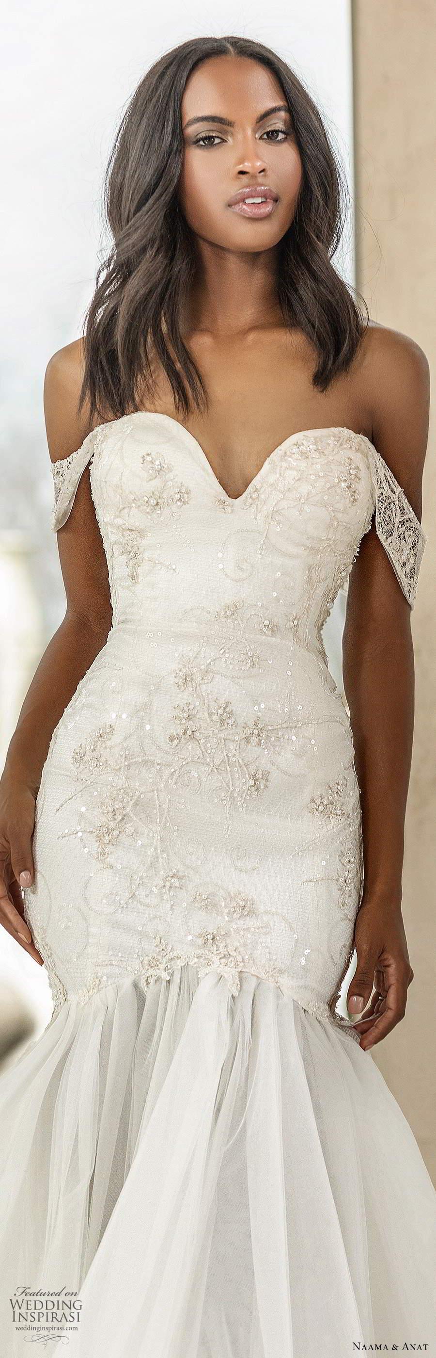naama anat spring 2020 knottinghill bridal off shoulder sheer straps sweetheart neckline embellished bodice fit flare mermaid wedding dress sheer back chapel train (8) zv