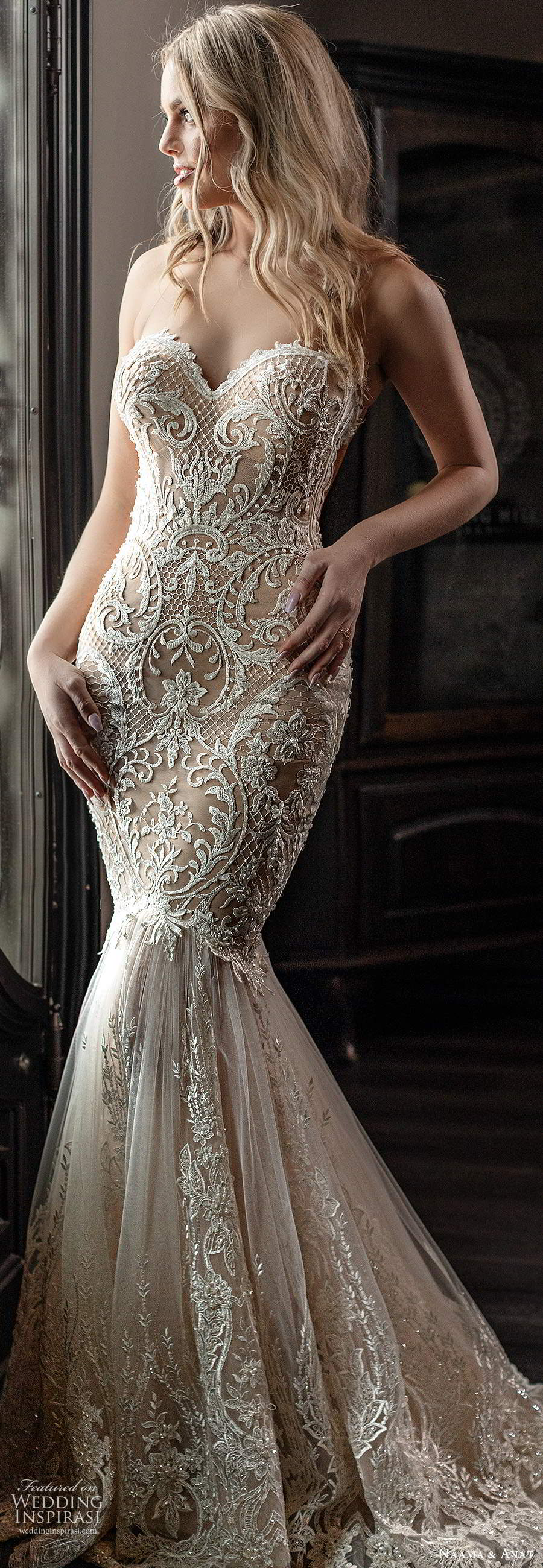 naama anat spring 2020 knottinghill bridal strapless sweetheart neckline fully embellished lace fit flare mermaid elegant wedding dress chapel train (1) lv