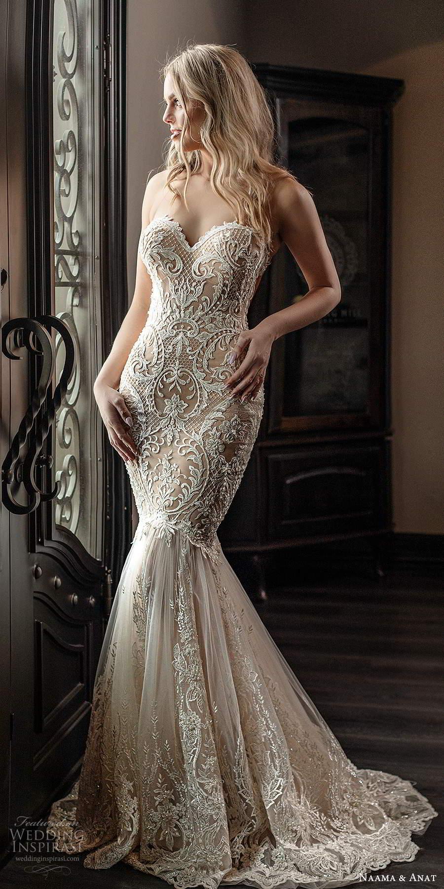 naama anat spring 2020 knottinghill bridal strapless sweetheart neckline fully embellished lace fit flare mermaid elegant wedding dress chapel train (1) mv