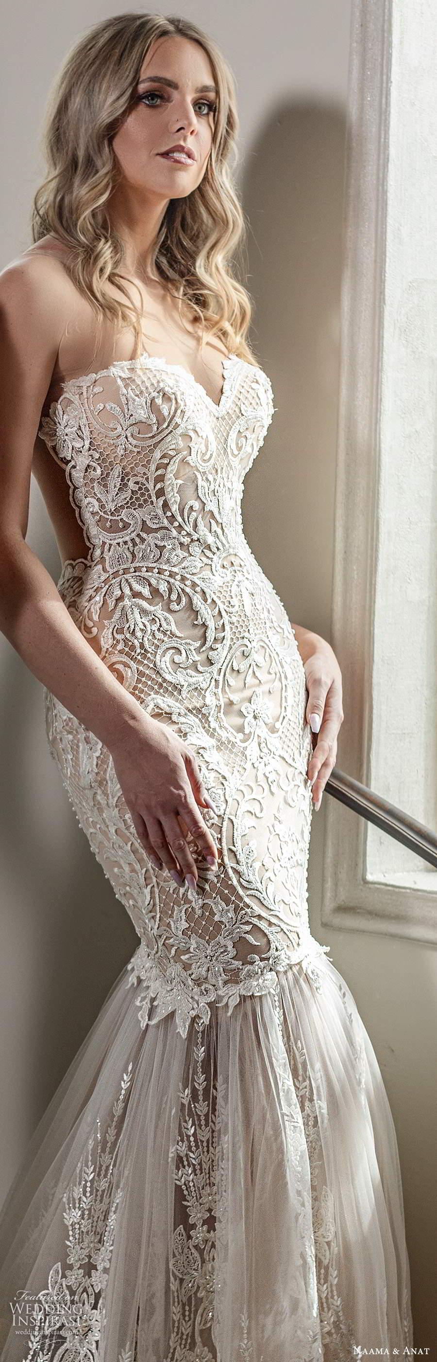 naama anat spring 2020 knottinghill bridal strapless sweetheart neckline fully embellished lace fit flare mermaid elegant wedding dress chapel train (1) zv
