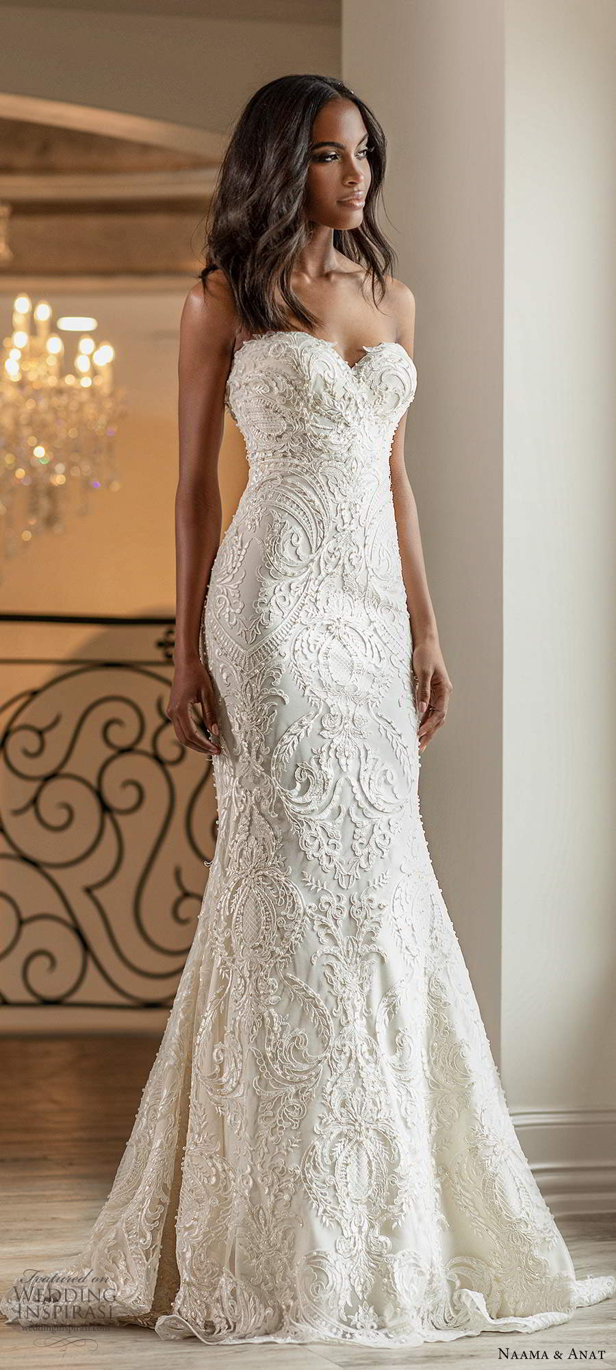 naama anat spring 2020 knottinghill bridal strapless sweetheart neckline fully embellished lace sheath glam wedding dress chapel train (8) mv
