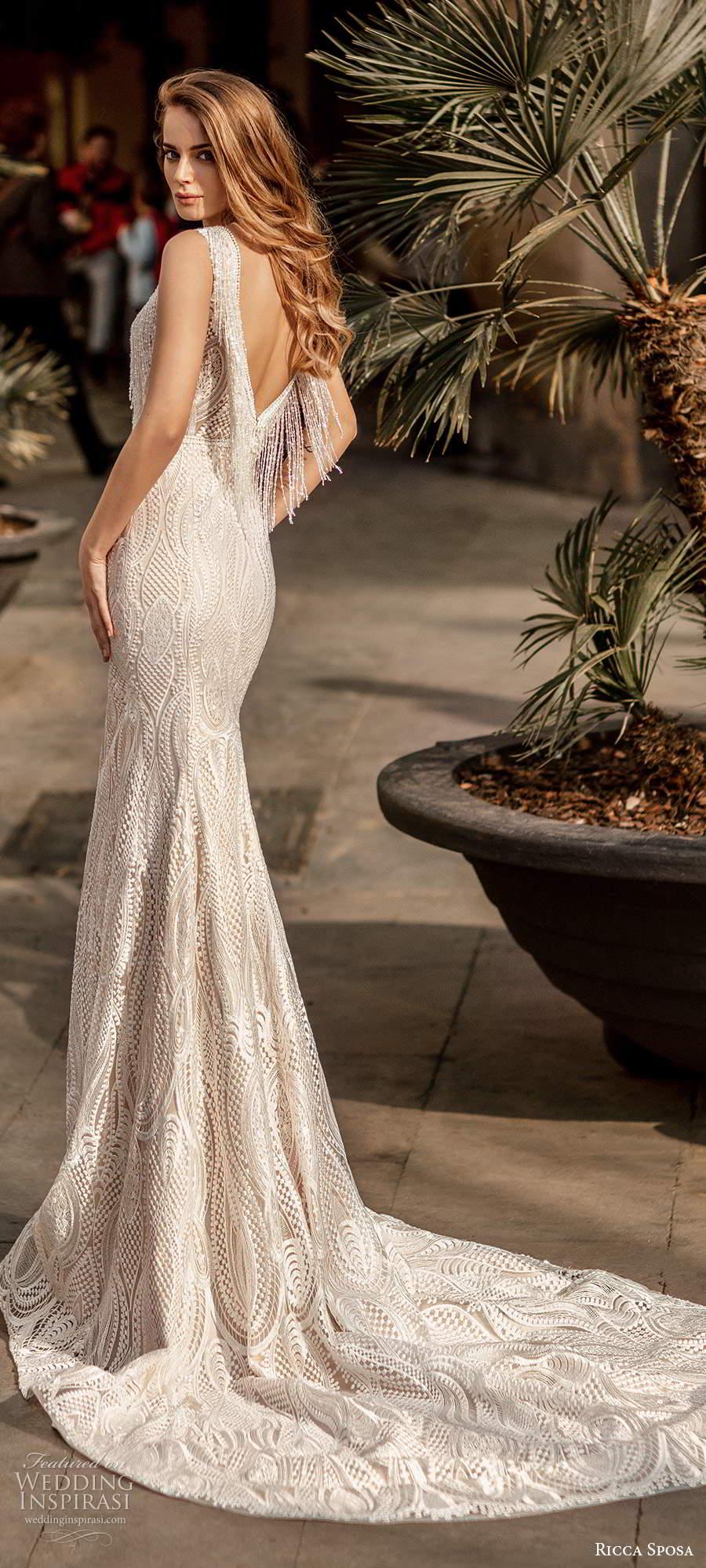 ricca sposa 2020 barcelona bridal cap sleeves plunging v neckline fully embellished glam sheath mermaid wedding dress v back chapel train (4) bv