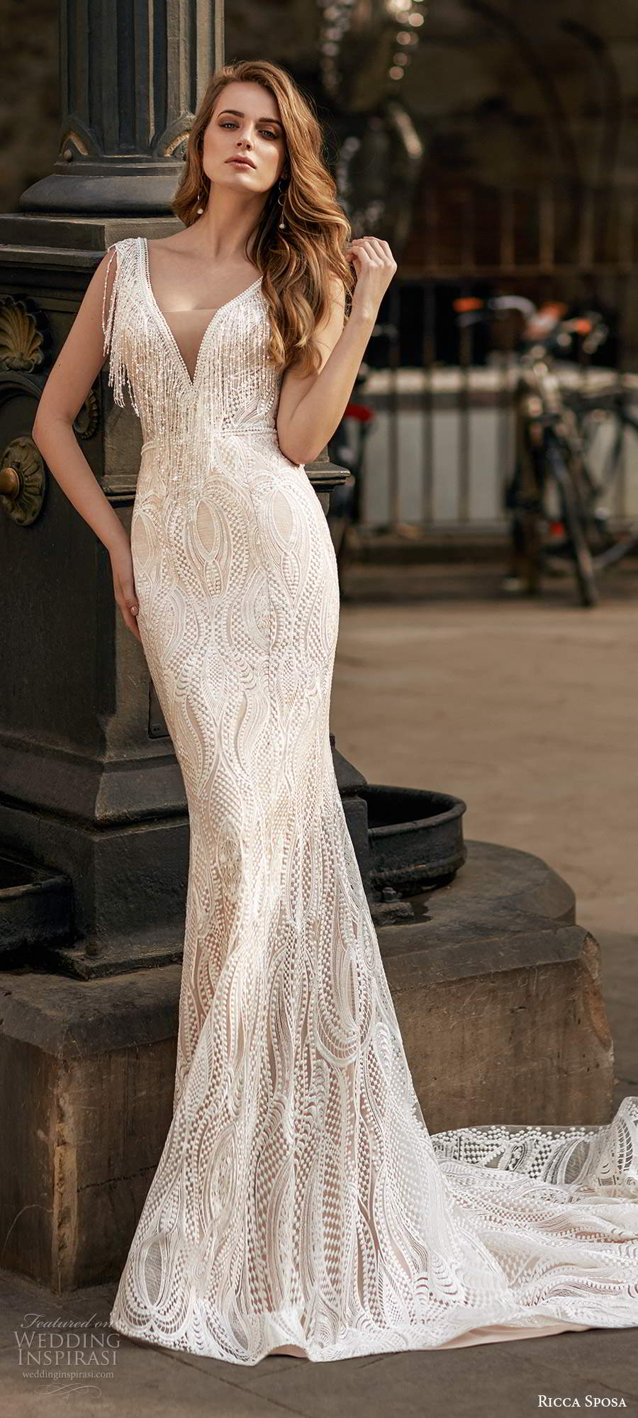ricca sposa 2020 barcelona bridal cap sleeves plunging v neckline fully embellished glam sheath mermaid wedding dress v back chapel train (4) mv