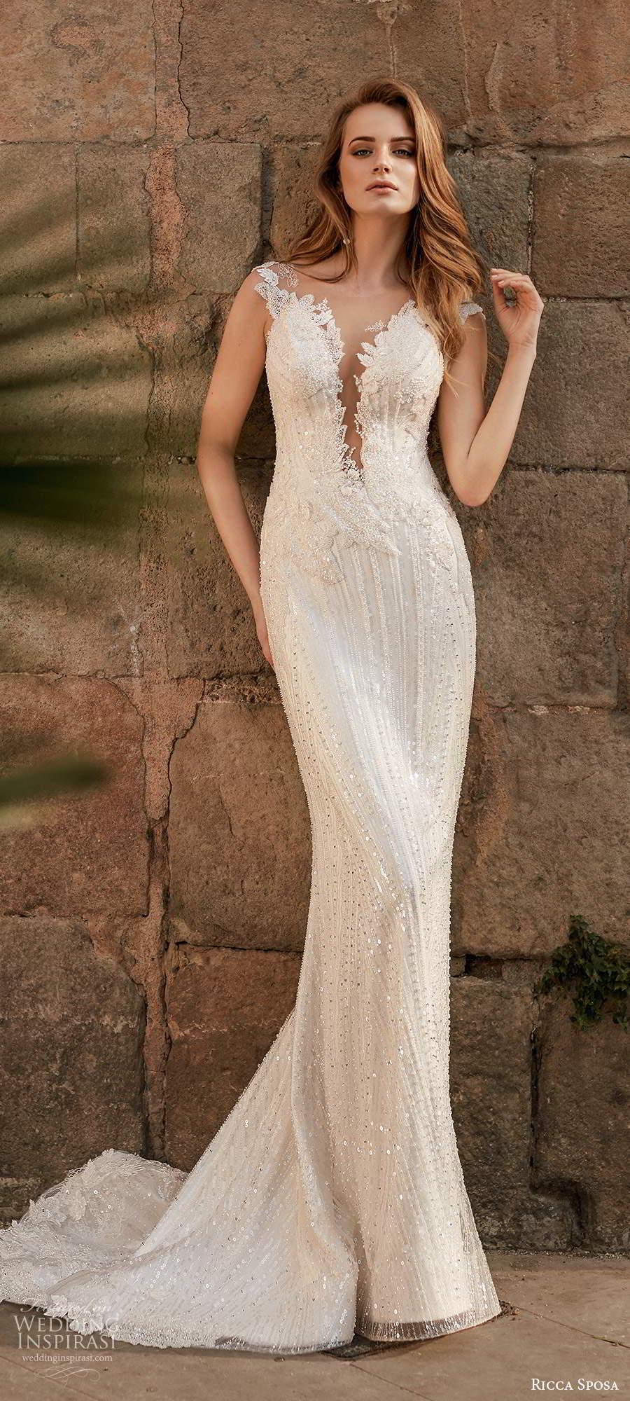 ricca sposa 2020 barcelona bridal illusion cap sleeves plunging v neckline fully embellished glitzy sheath wedding dress sheer back chapel train (25) mv