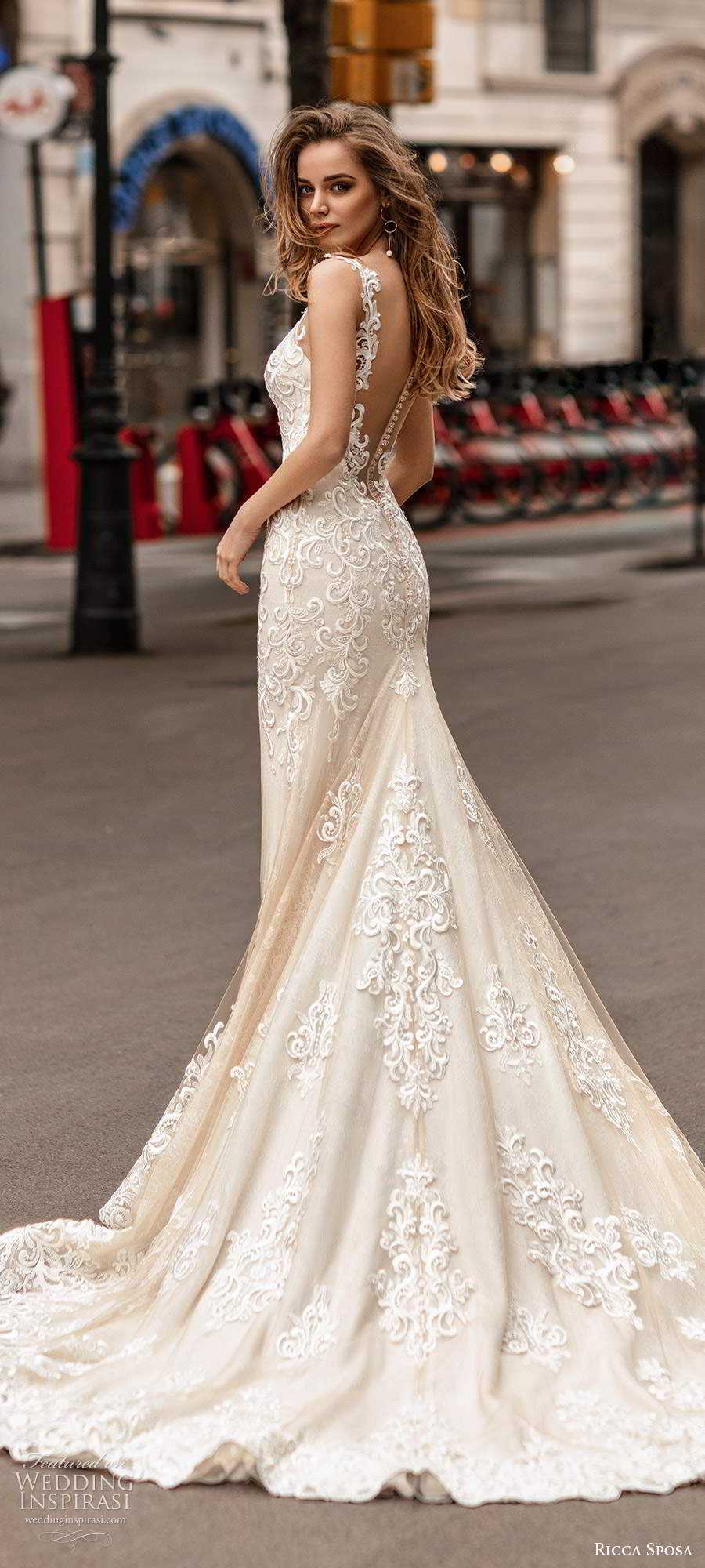 ricca sposa 2020 barcelona bridal illusion cap sleeves plunging v neckline fully embellished lace fit flare mermaid sheath wedding dress illusion low back chapel train (3) bv