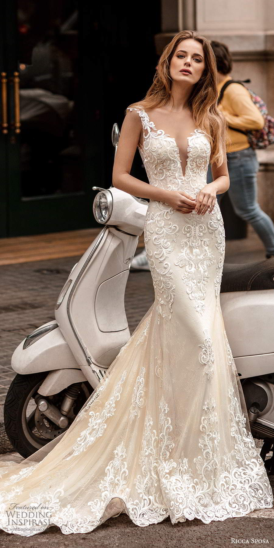 ricca sposa 2020 barcelona bridal illusion cap sleeves plunging v neckline fully embellished lace fit flare mermaid sheath wedding dress illusion low back chapel train (3) mv