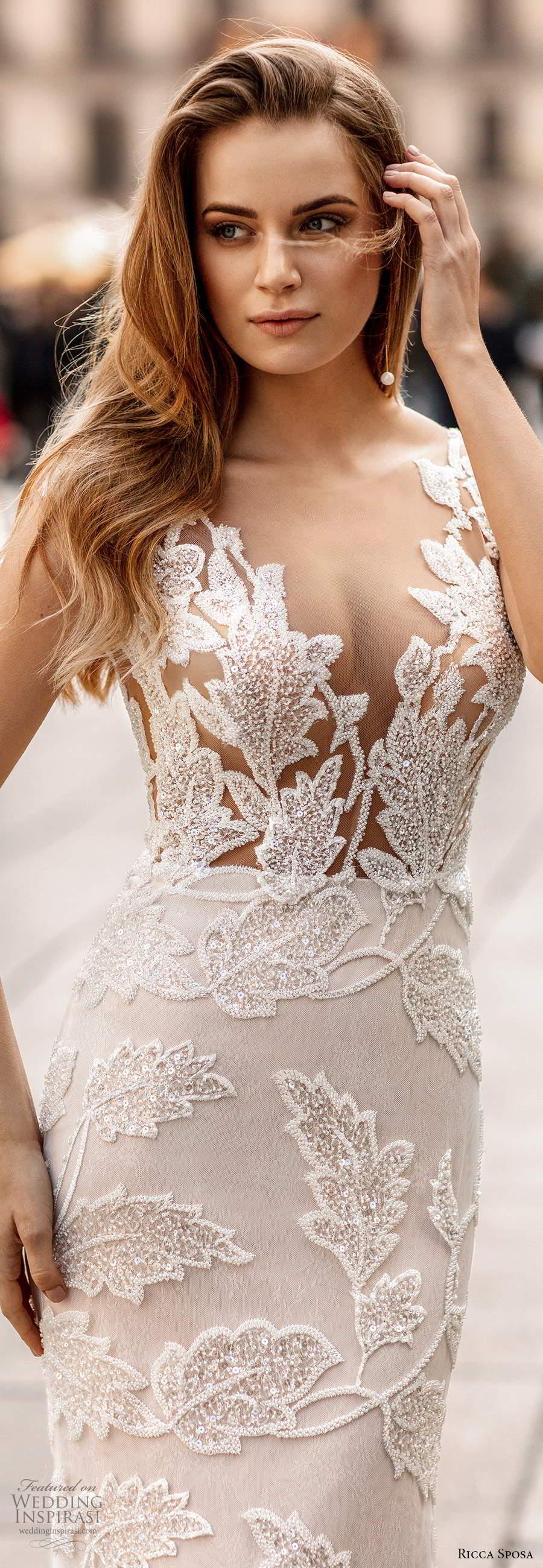 ricca sposa 2020 barcelona bridal illusion cap sleeves plunging v neckline sheer bodice fully embellished glitzy mermaid sheath wedding dress pink sheer back chapel train (10) zv