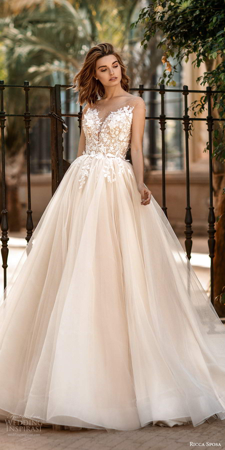 ricca sposa 2020 barcelona bridal illusion cap sleeves sheer bateau sweetheart neckline heavily embellished bodice ball gown wedding dress sheer back chapel train (14) mv