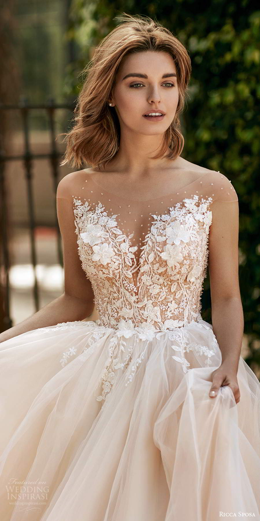 ricca sposa 2020 barcelona bridal illusion cap sleeves sheer bateau sweetheart neckline heavily embellished bodice ball gown wedding dress sheer back chapel train (14) zv