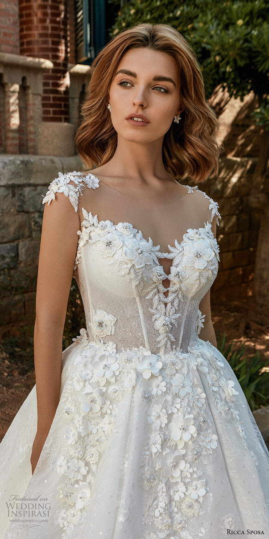 ricca sposa 2020 barcelona bridal illusion cap sleeves sweetheart neckline heavily embellished bodice lace romantic princess a line ball gown wedding dress chapel train (13) zv