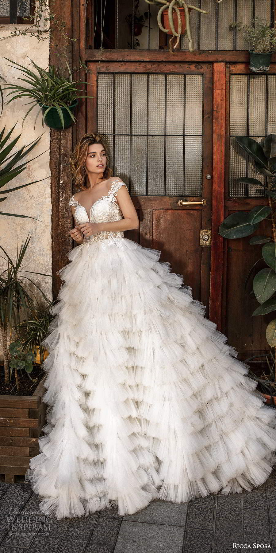 ricca sposa 2020 barcelona bridal illusion cap sleeves sweetheart neckline sheer embellished lace bodice rufffle skirt romantic a line ball gown wedding dress sheer back chapel train (9) mv