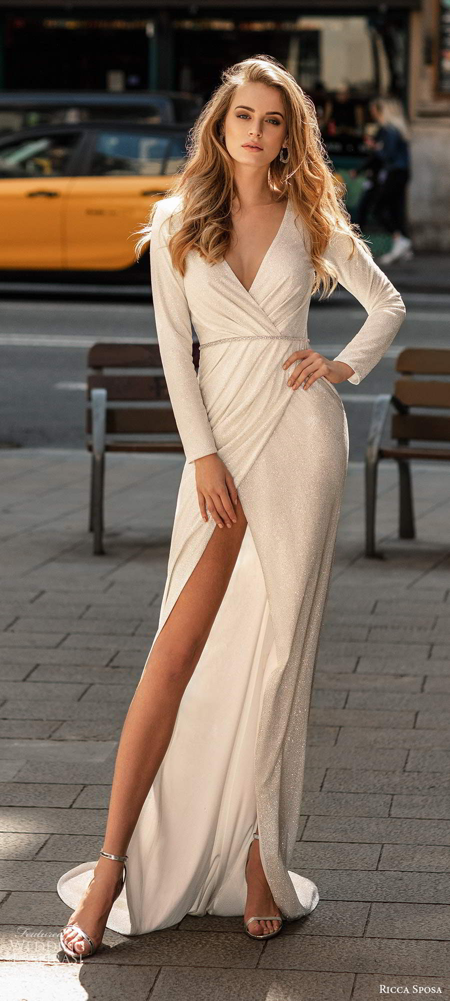 ricca sposa 2020 barcelona bridal long sleeves surplice v neckline ruched wrap bodice sheath wedding dress slit skirt sweep train (24)