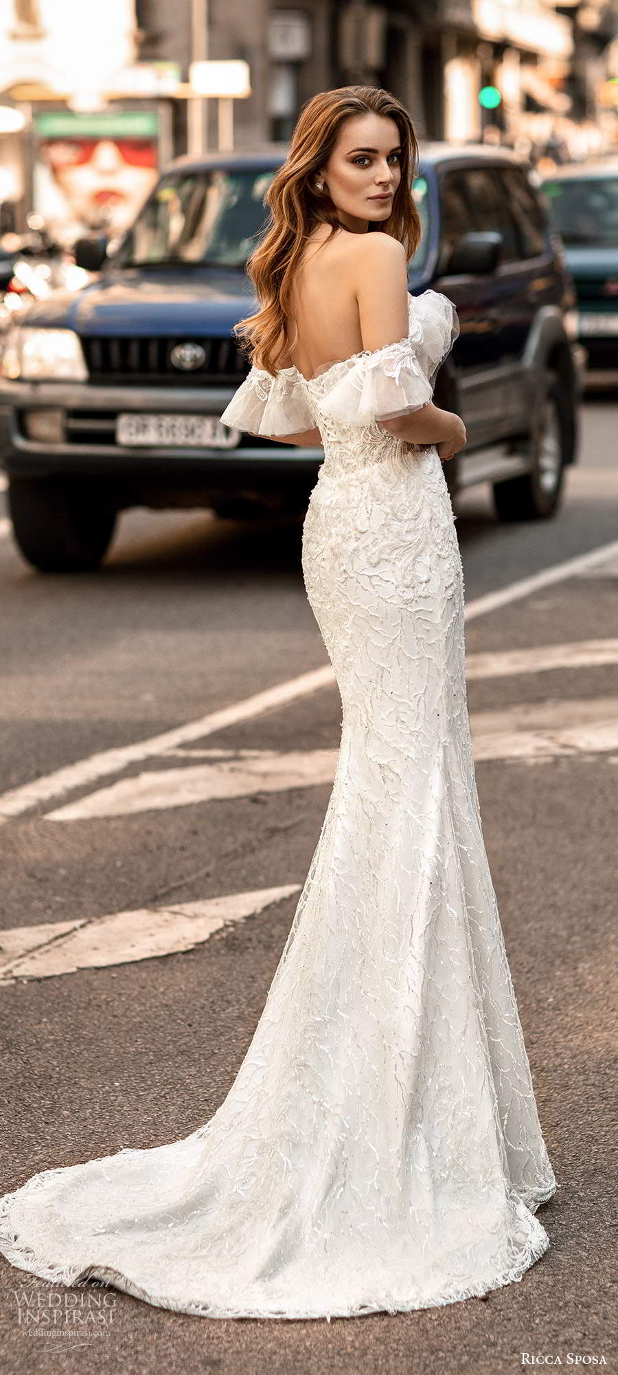 ricca sposa 2020 barcelona bridal off shoulder flutter sleeves semi sweetheart neckline fully embellished sheath mermaid wedding dress chapel train (22) bv