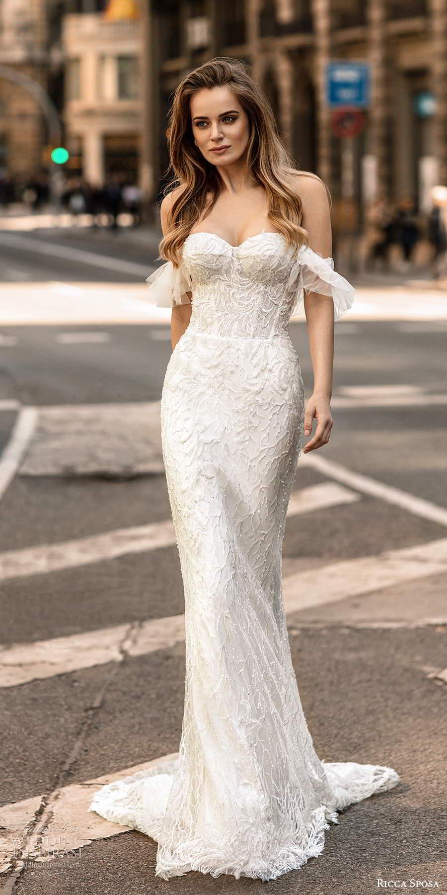 ricca sposa 2020 barcelona bridal off shoulder flutter sleeves semi sweetheart neckline fully embellished sheath mermaid wedding dress chapel train (22) mv