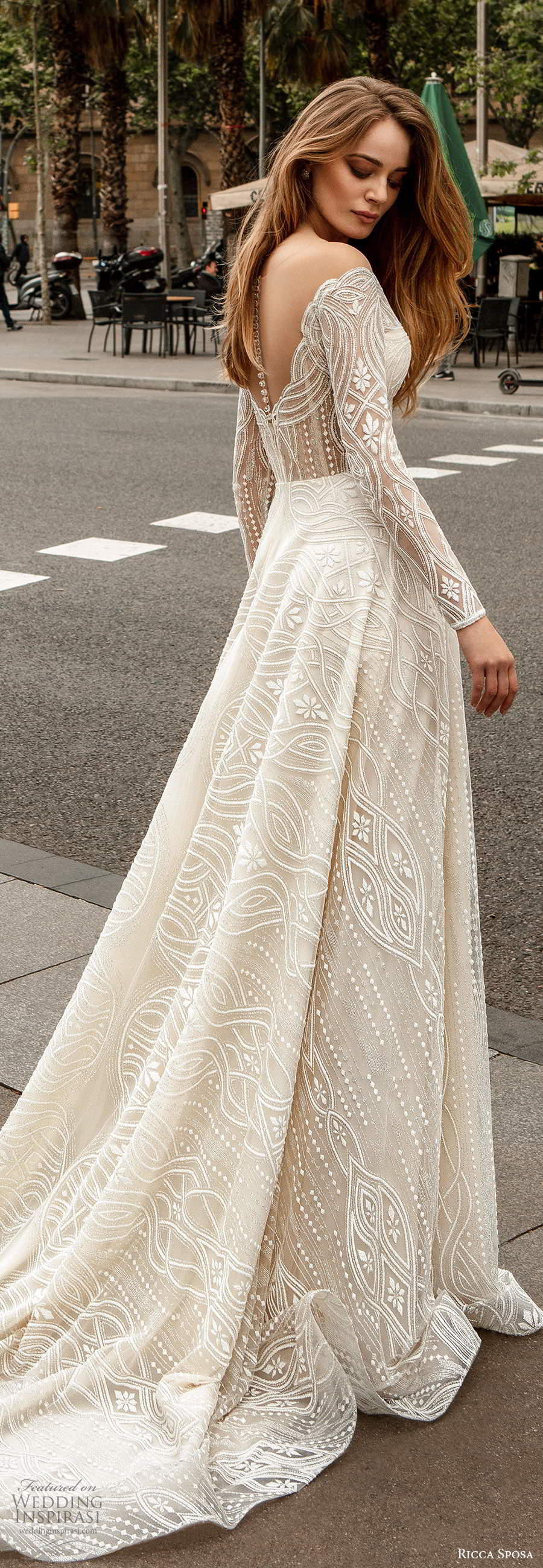 ricca sposa 2020 barcelona bridal off shoulder long sleeves sweetheart neckline fully embellished a line ball gown wedding dress scoop back chapel train (6) bv