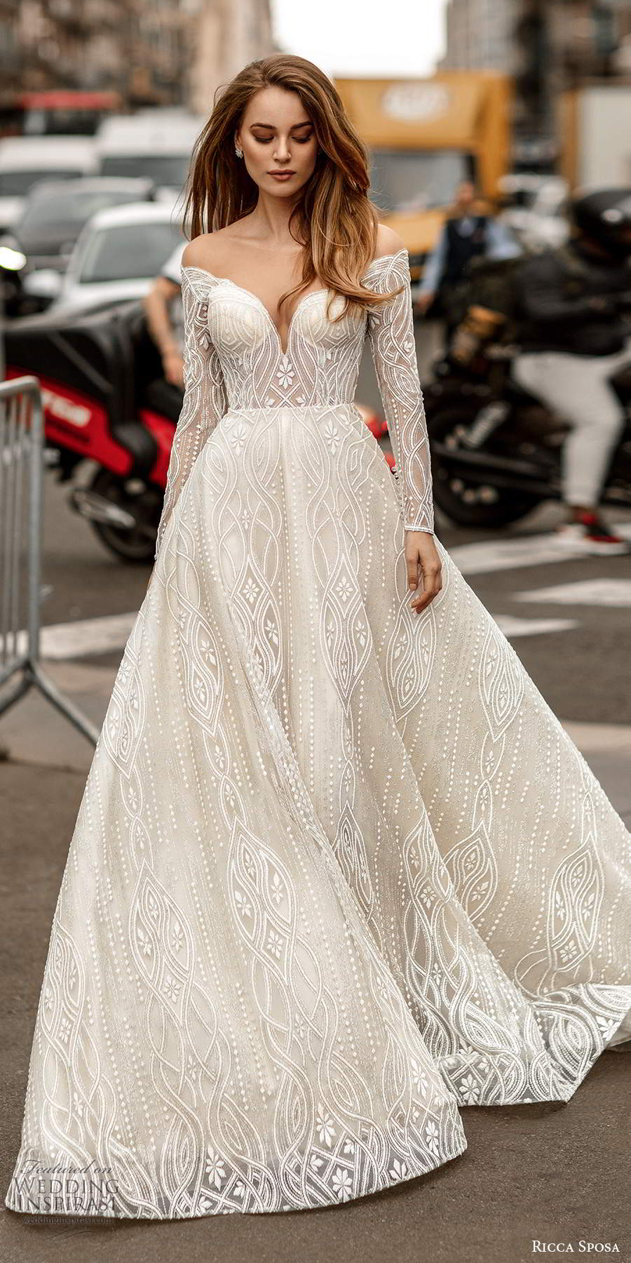 ricca sposa 2020 barcelona bridal off shoulder long sleeves sweetheart neckline fully embellished a line ball gown wedding dress scoop back chapel train (6) mv