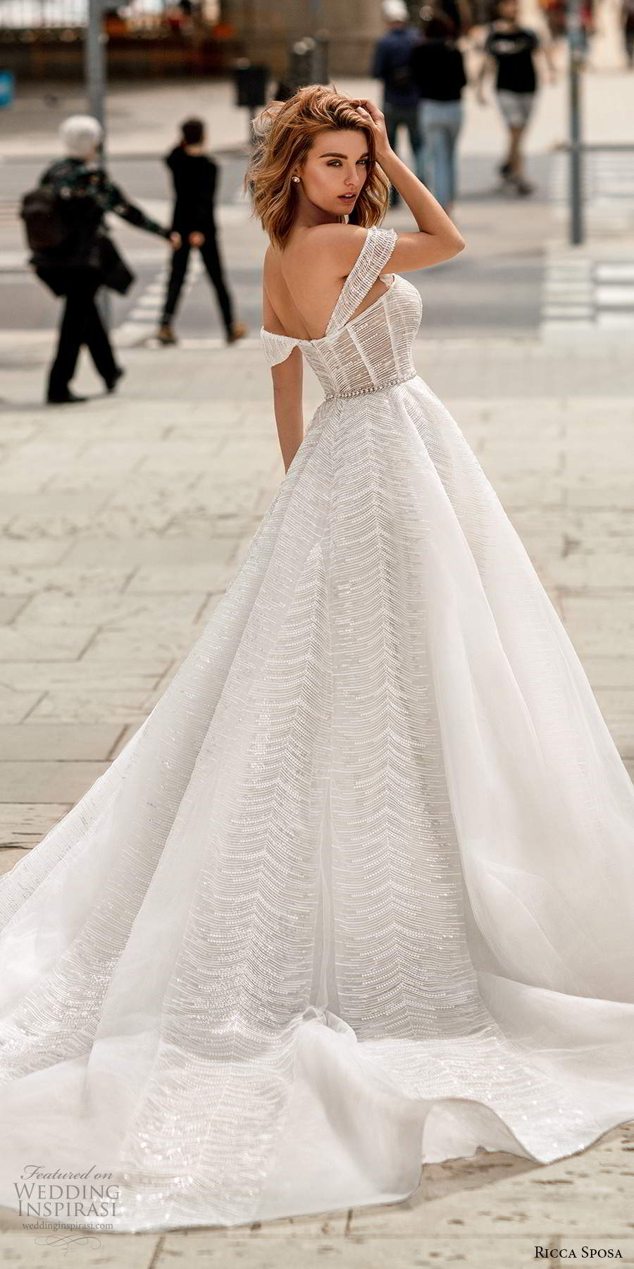ricca sposa 2020 barcelona bridal off shoulder straps semi sweetheart fully embellished romantic a line ball gown wedding dress cathedral train (26) bv