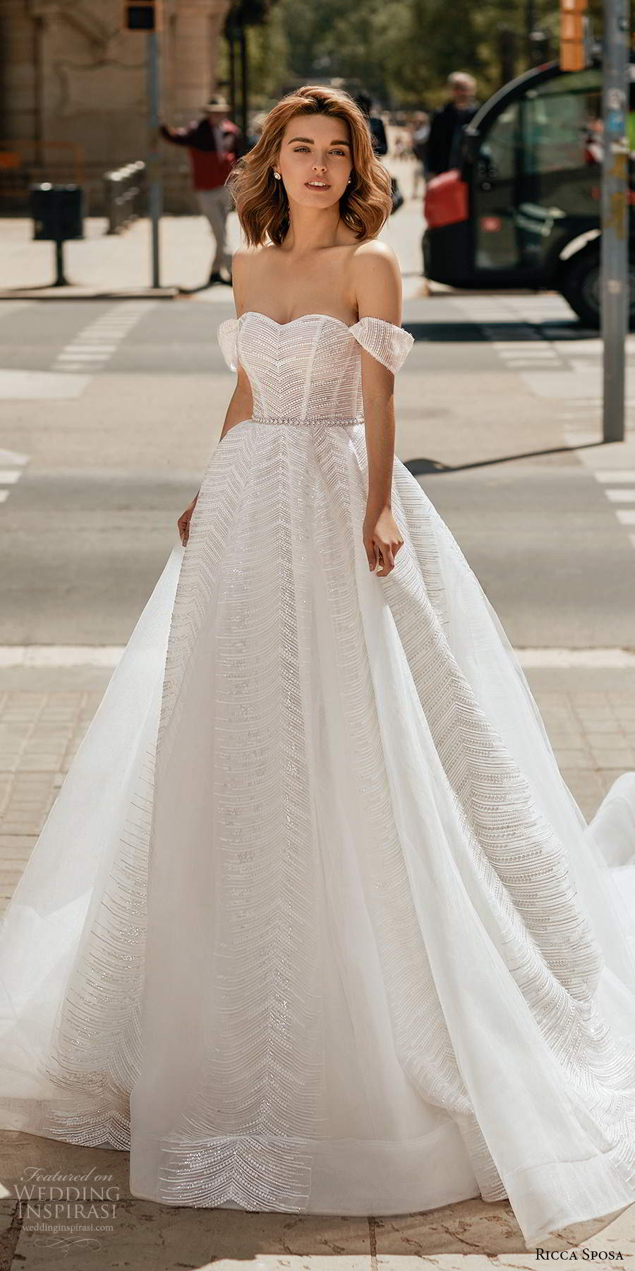 ricca sposa 2020 barcelona bridal off shoulder straps semi sweetheart fully embellished romantic a line ball gown wedding dress cathedral train (26) mv
