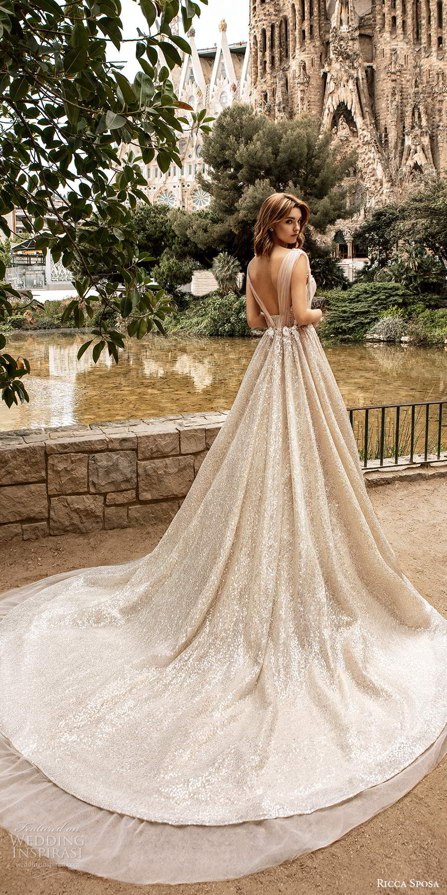 ricca sposa 2020 barcelona bridal off shoulder sweetheart neckline ruched bodice fully embellished romantic glitzy a line ball gown wedding dress v back cathedral train (1) bv