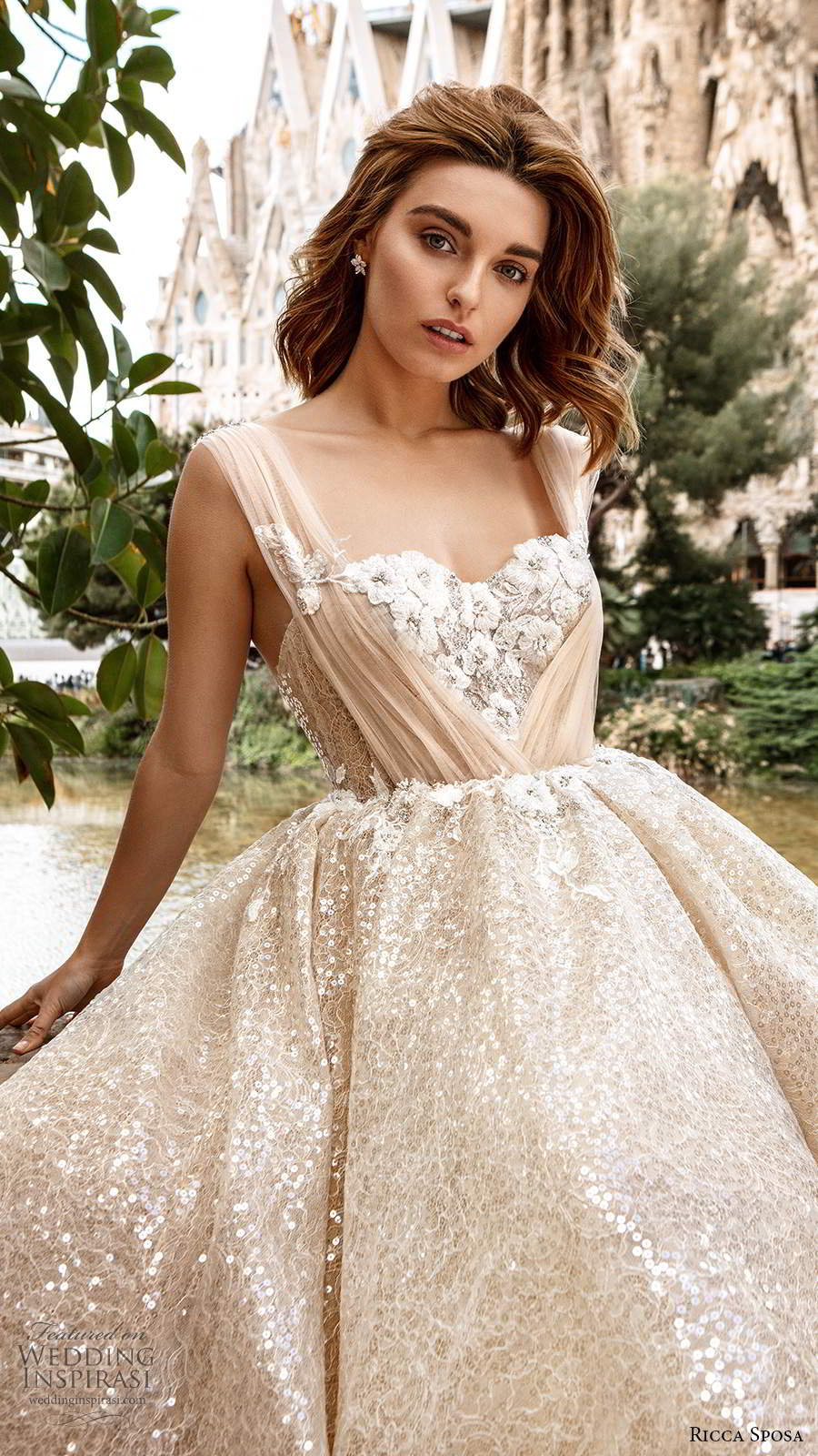 ricca sposa 2020 barcelona bridal off shoulder sweetheart neckline ruched bodice fully embellished romantic glitzy a line ball gown wedding dress v back cathedral train (1) zv