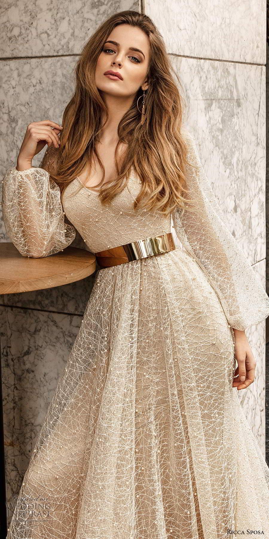 ricca sposa 2020 barcelona bridal sheer bishop sleeves scoop neckline fully embellished glitzy glam a line wedding dress metallic gold belt chapel train (12) mv