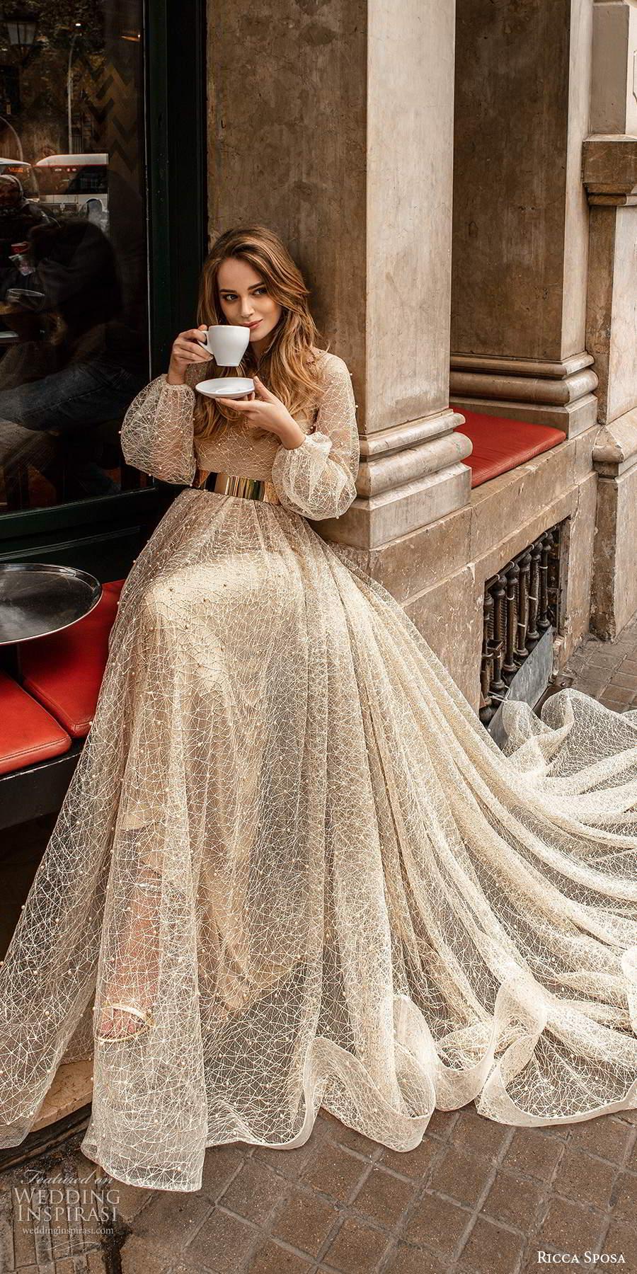 ricca sposa 2020 barcelona bridal sheer bishop sleeves scoop neckline fully embellished glitzy glam a line wedding dress metallic gold belt chapel train (12) sv