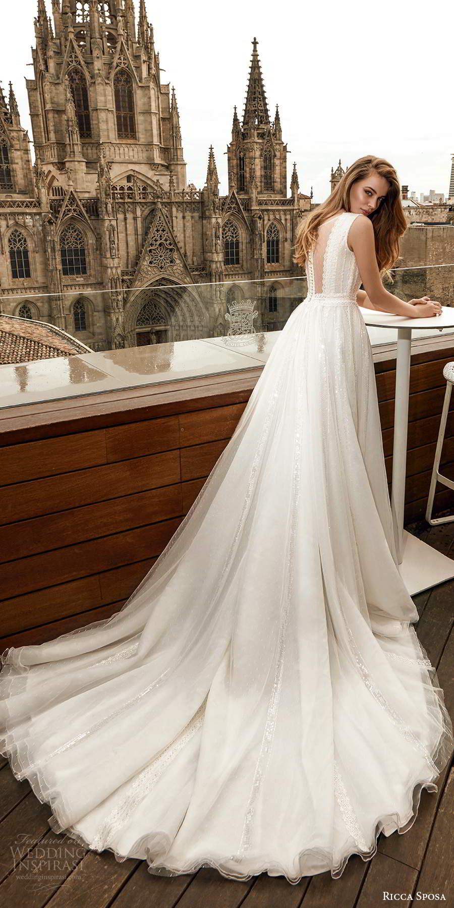 ricca sposa 2020 barcelona bridal sleeveless bateau neckline illusion embellished bodice a line boho a line ball gown wedding dress chapel train (19) bv