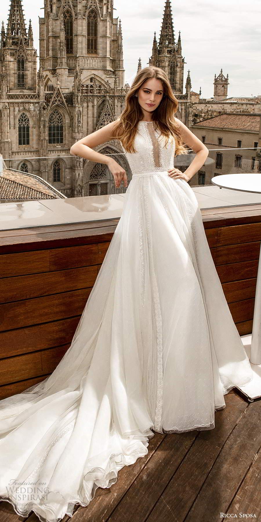 ricca sposa 2020 barcelona bridal sleeveless bateau neckline illusion embellished bodice a line boho a line ball gown wedding dress chapel train (19) mv
