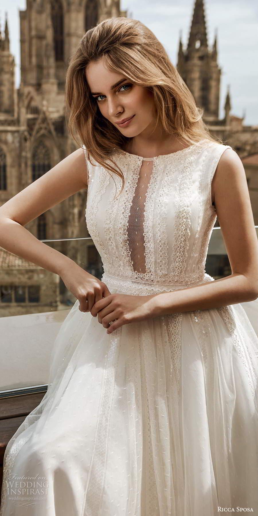 ricca sposa 2020 barcelona bridal sleeveless bateau neckline illusion embellished bodice a line boho a line ball gown wedding dress chapel train (19) zv