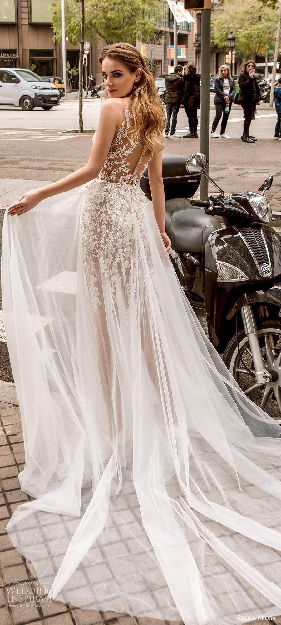 ricca sposa 2020 barcelona bridal sleeveless illusion straps plunging v neckline sheer bodice fully embellished lace a line blush wedding dress illusion bodice chapel train (7) bv