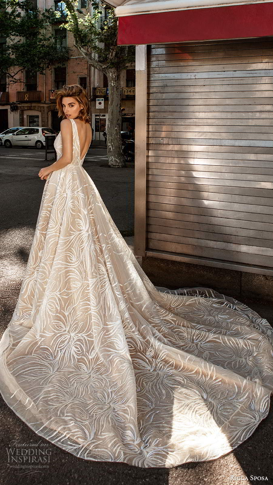 ricca sposa 2020 barcelona bridal sleeveless illusion thick straps plunging v neckline fully embellished glitzy glam a line ball gown wedding dress v back cathedral train (5) bv