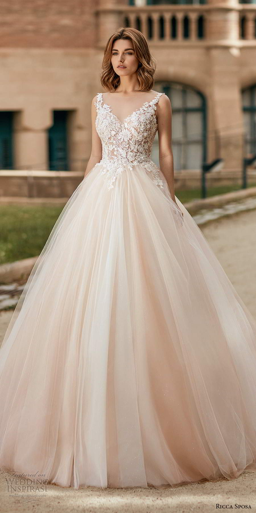 ricca sposa 2020 barcelona bridal sleeveless straps sweetheart neckline heavily embellished bodice pink a line ball gown wedding dress corset back chapel train (11) mv