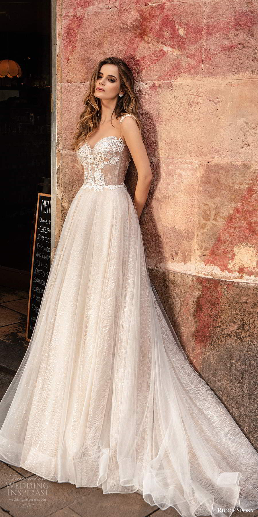 ricca sposa 2020 barcelona bridal sleeveless straps sweetheart neckline sheer heavily embellished bodice a line ball gown wedding dress chapel train (16) mv