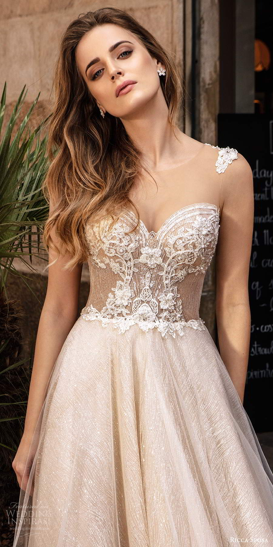 ricca sposa 2020 barcelona bridal sleeveless straps sweetheart neckline sheer heavily embellished bodice a line ball gown wedding dress chapel train (16) zv