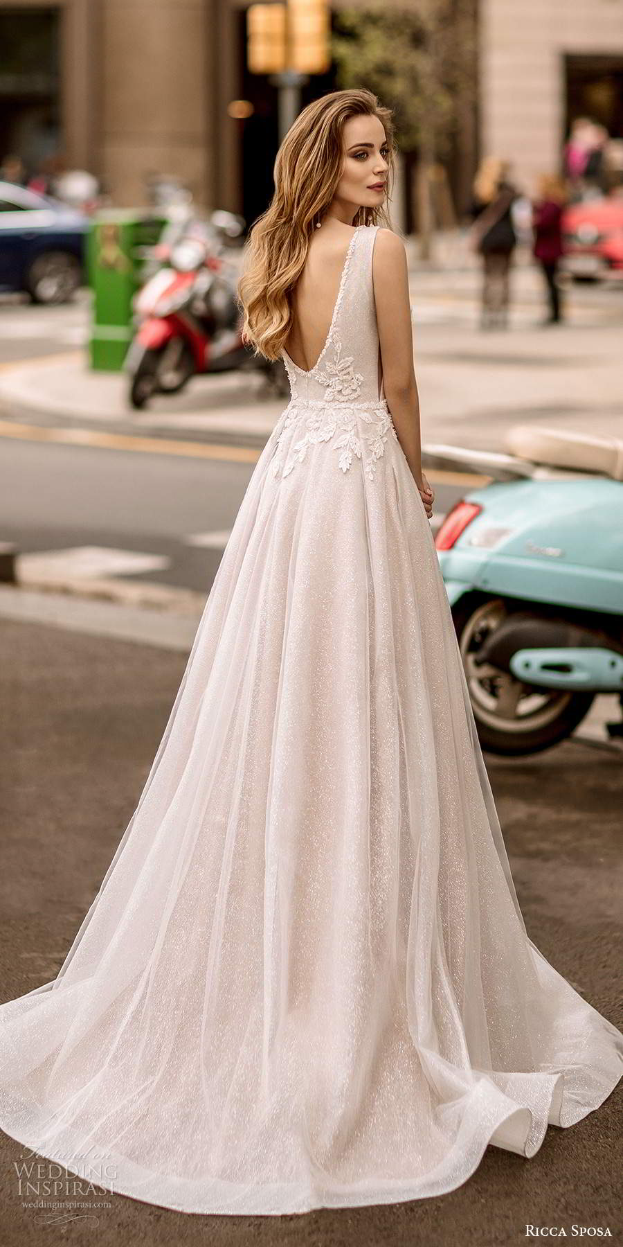 ricca sposa 2020 barcelona bridal sleeveless thick straps plunging v neckline heavily embellished bodice side cutout a line ball gown wedding dress v back chapel train (21) bv
