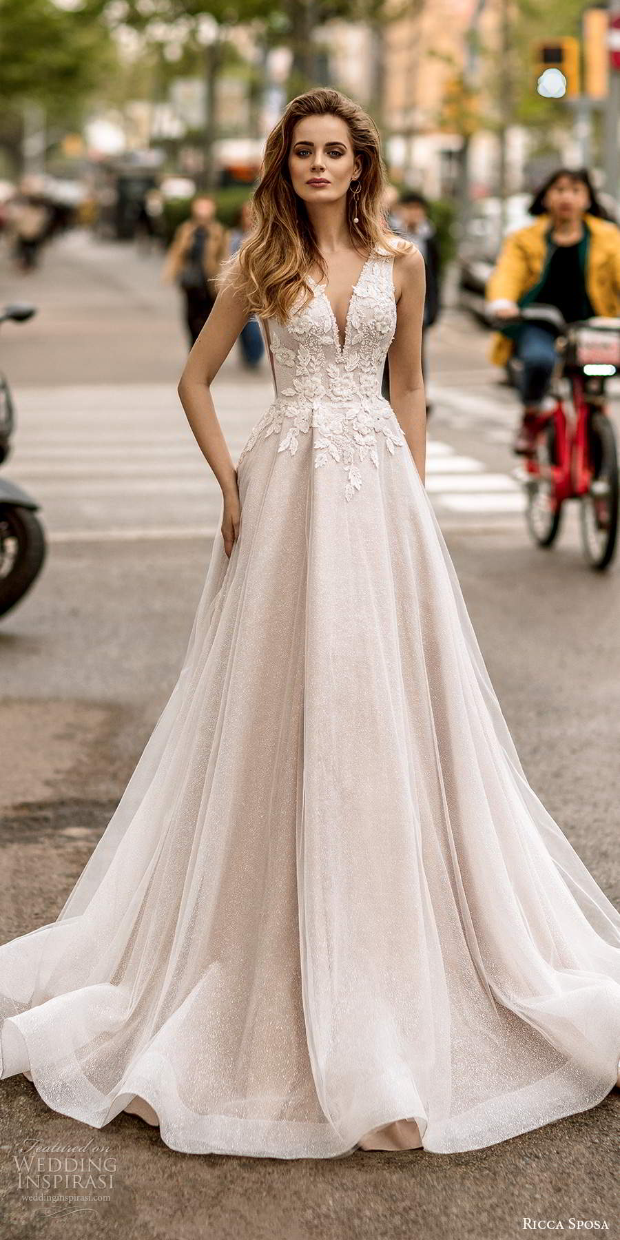 ricca sposa 2020 barcelona bridal sleeveless thick straps plunging v neckline heavily embellished bodice side cutout a line ball gown wedding dress v back chapel train (21) mv