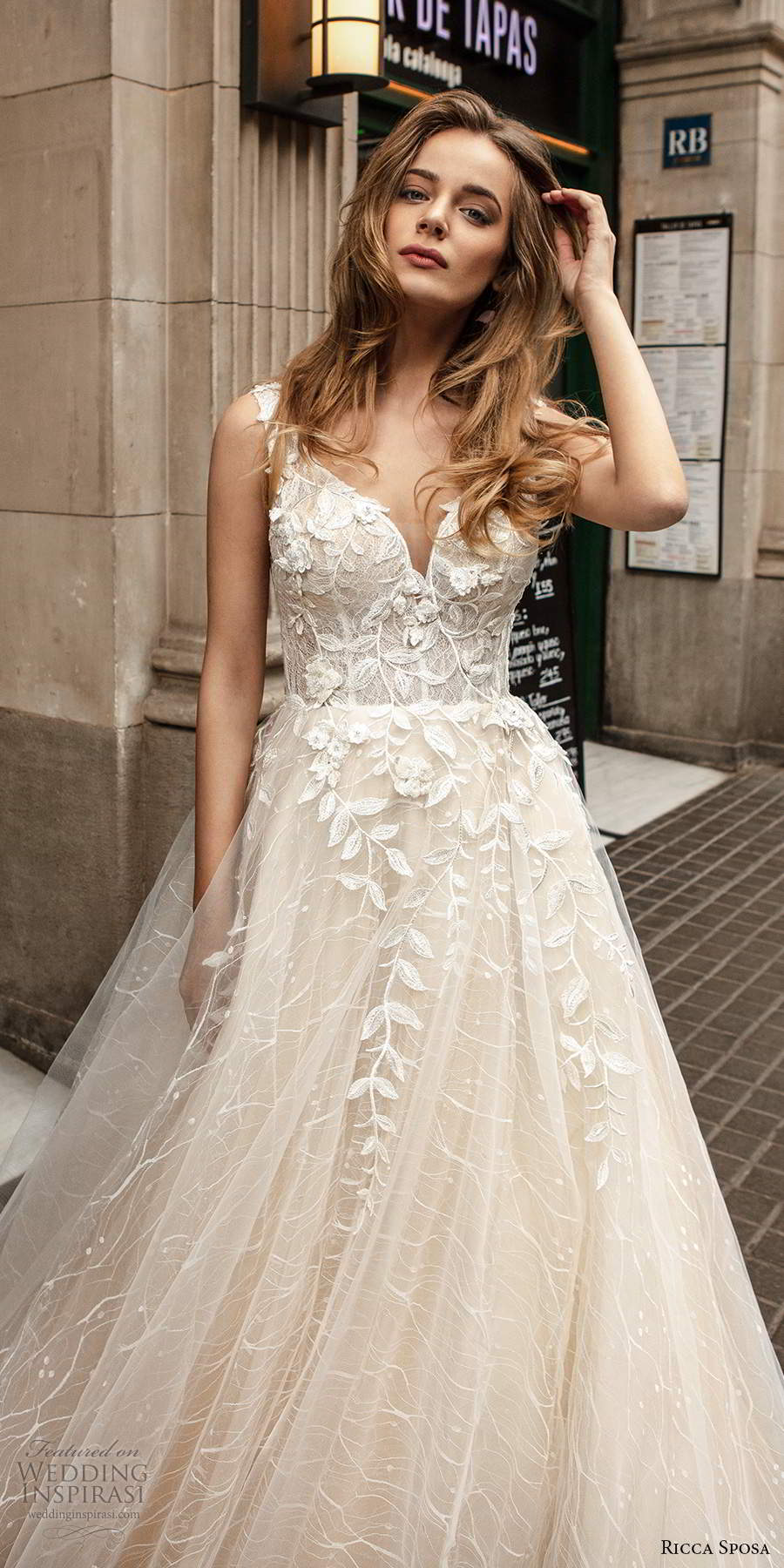 ricca sposa 2020 barcelona bridal sleeveless thick straps sweetheart neckline heavily embellished bodice a line ball gown wedding dress chapel train (17) mv