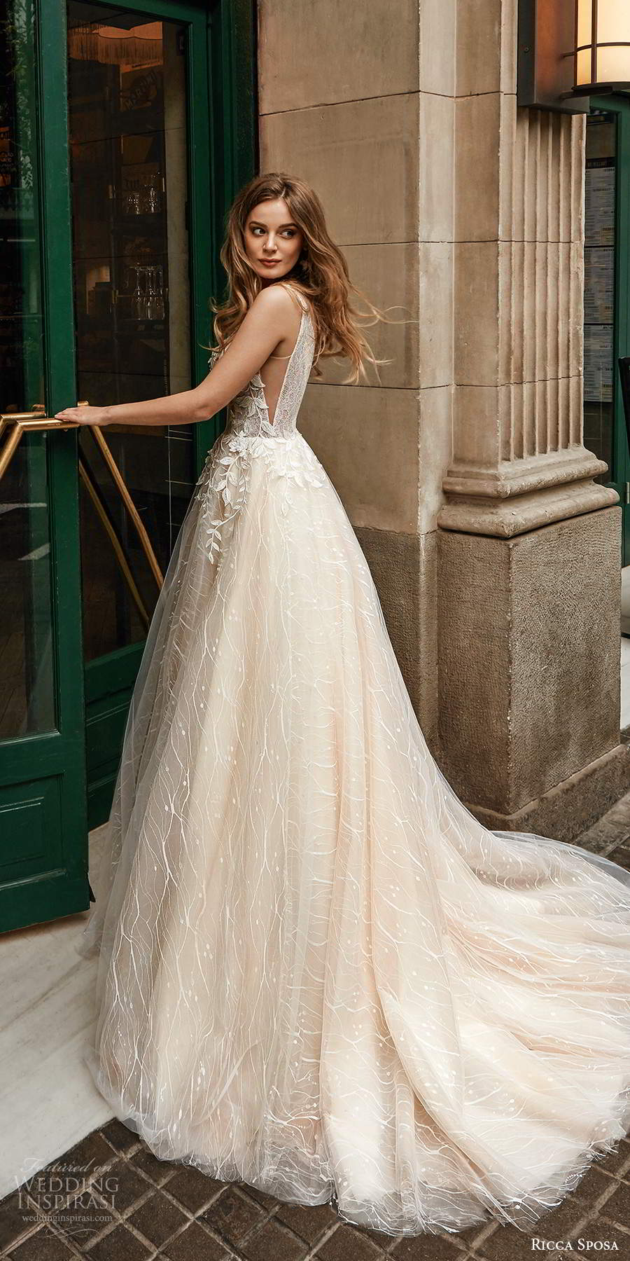 ricca sposa 2020 barcelona bridal sleeveless thick straps sweetheart neckline heavily embellished bodice a line ball gown wedding dress chapel train (17) sv