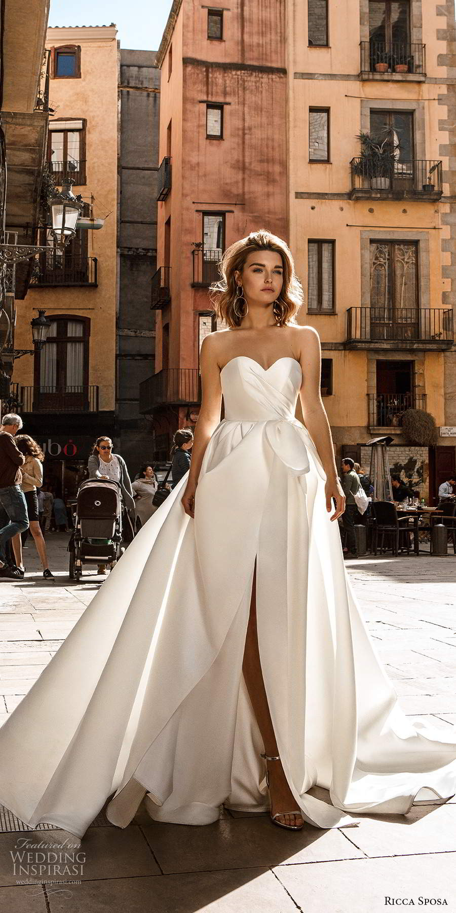 ricca sposa 2020 barcelona bridal strapless sweetheart ruched bodice minimalist clean a line ball gown wedding dress chapel train (2) mv
