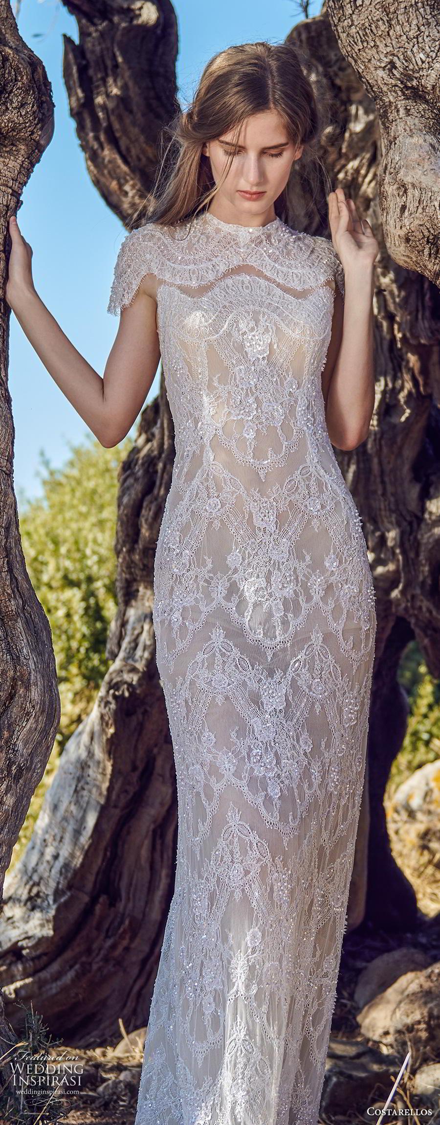 costarellos fall 2020 bridal cap sleeves jewel neck full embellishment glamorous elegant sheath wedding dress sweep train (3) lv
