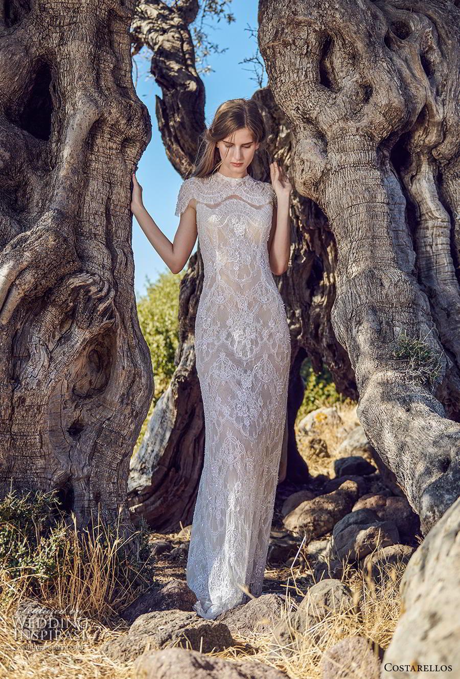 costarellos fall 2020 bridal cap sleeves jewel neck full embellishment glamorous elegant sheath wedding dress sweep train (3) mv