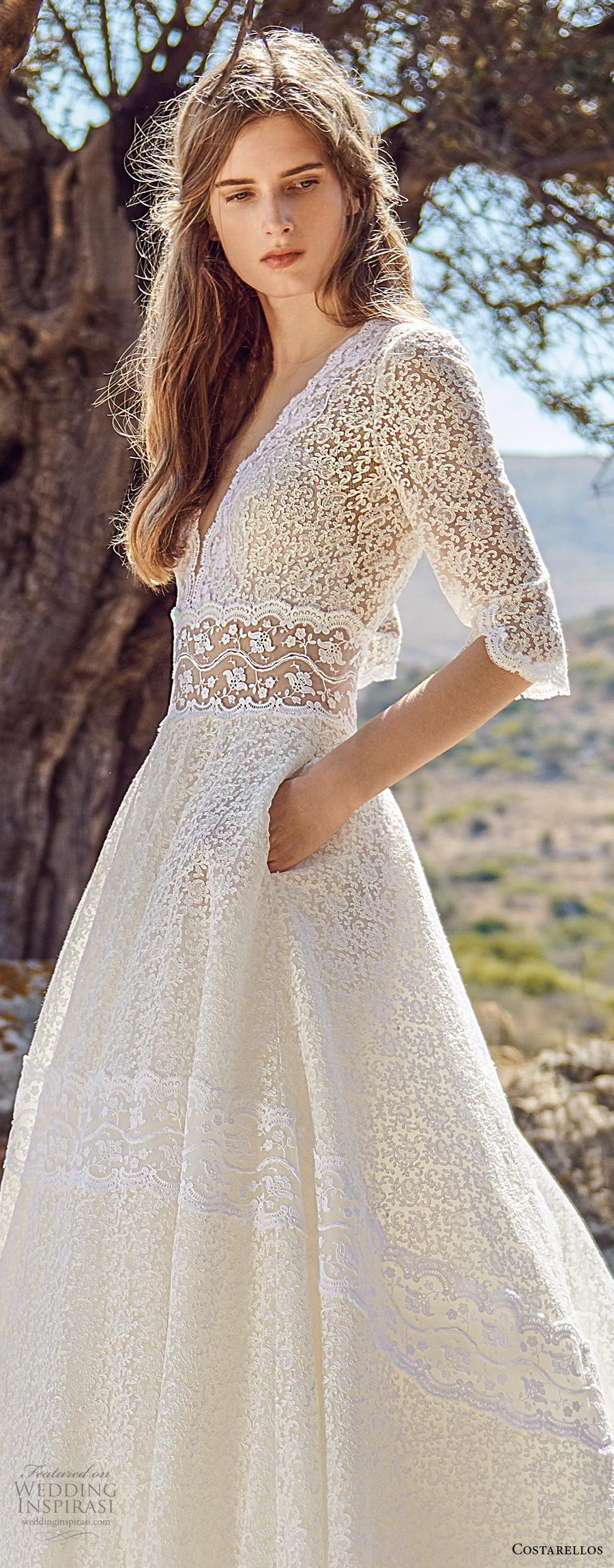 costarellos fall 2020 bridal half sleeves deep v neck full embellishment romantic a  line wedding dress with pockets chapel train (17) lv
