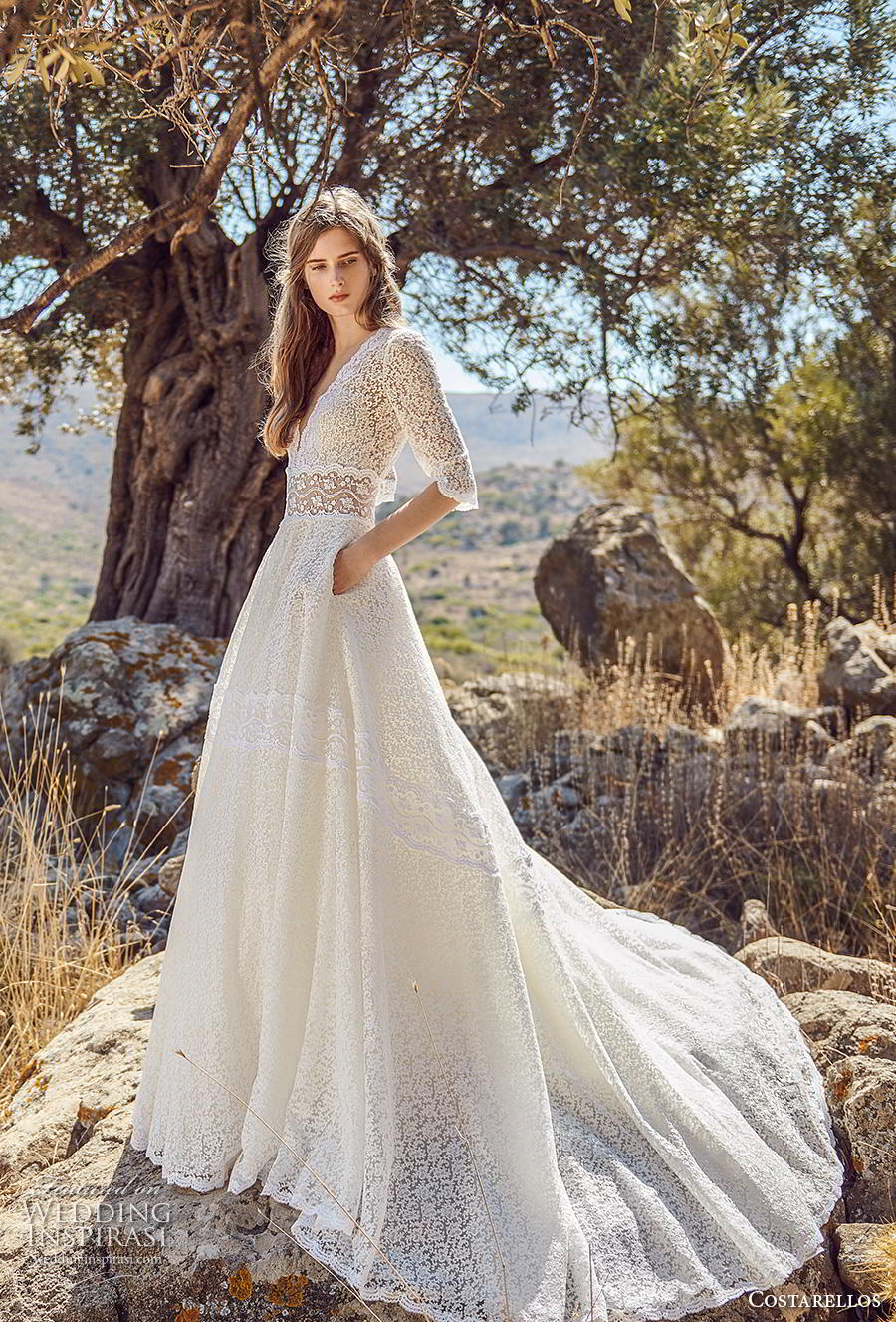 costarellos fall 2020 bridal half sleeves deep v neck full embellishment romantic a  line wedding dress with pockets chapel train (17) mv