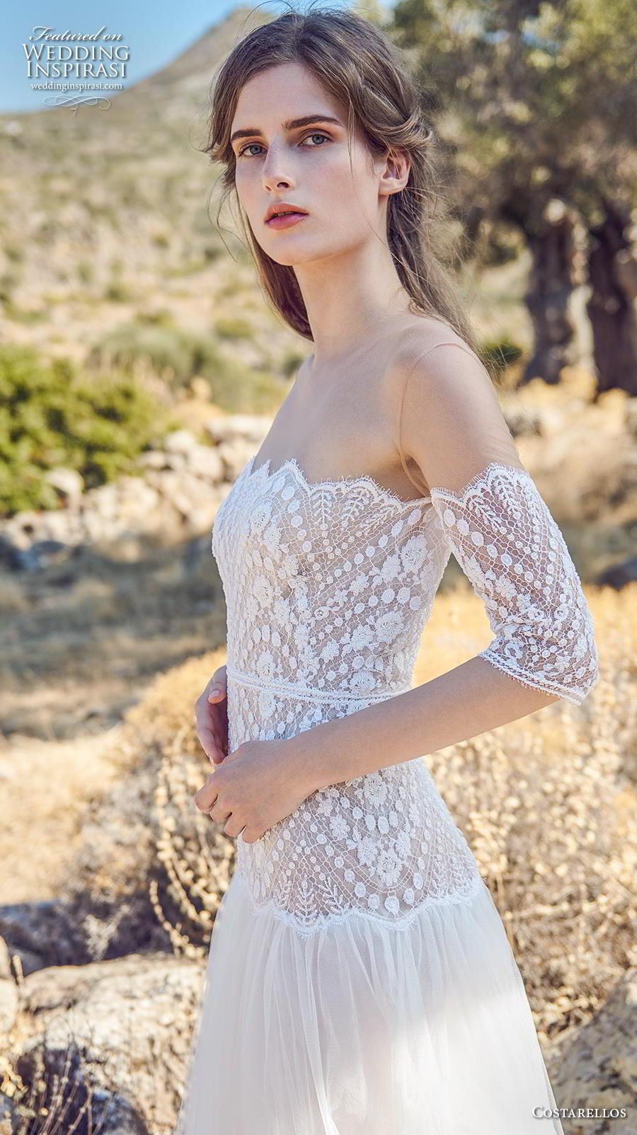 costarellos fall 2020 bridal half sleeves illusion jewel neck straight across scallop neckline heavily embellished bodice romantic a  line wedding dress (16) mv