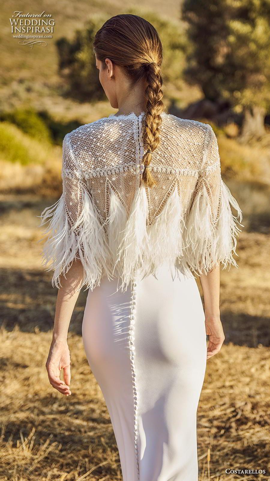 costarellos fall 2020 bridal half sleeves jewel neck heavily embellised bodice feathers elegant glamorous sheath fit and flare wedding dress (13) bv